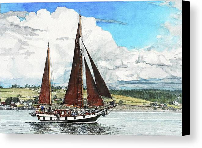 Landscape Canvas Print featuring the painting Cutty Sark by Perry Woodfin