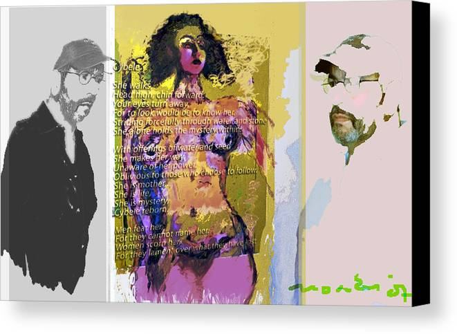 Human Composition Canvas Print featuring the mixed media Cybele by Noredin Morgan