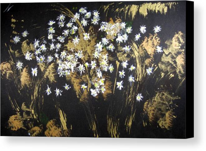 Abstract Canvas Print featuring the painting Daisies In Gold Abstraction by Michela Akers