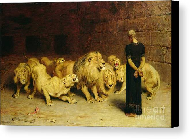 Daniel In The Lions' Den Canvas Print featuring the painting Daniel In The Lions Den by Briton Riviere