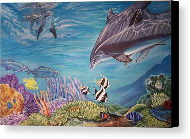 Underwater Scene Canvas Print featuring the painting Dolphin Pod by Diann Baggett