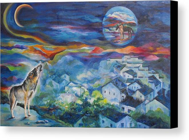 Wolf Canvas Print featuring the painting Dream by Min Wang