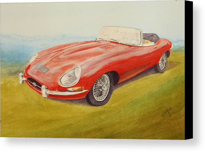 E-type Jaguar Canvas Print featuring the painting E-type Jaguar by David Godbolt