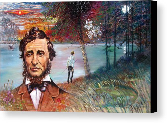 Henry David Thoreau Canvas Print featuring the painting Henry David Thoreau by John Lautermilch