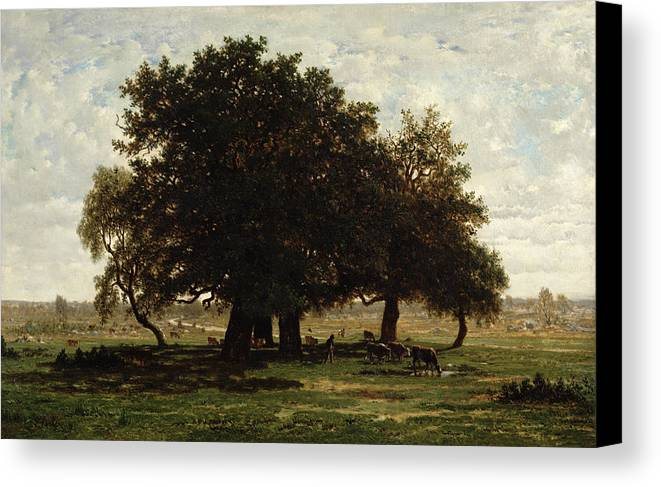 Holm Canvas Print featuring the painting Holm Oaks by Pierre Etienne Theodore Rousseau