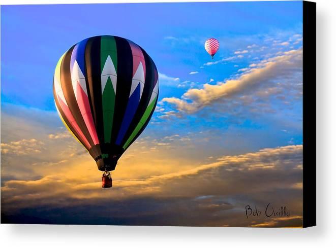 Hot Air Balloon Canvas Print featuring the photograph Hot Air Balloons At Sunset by Bob Orsillo