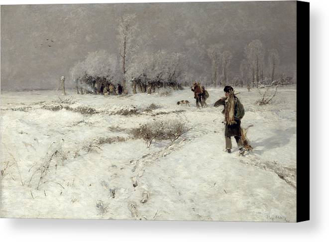 Hunting Canvas Print featuring the painting Hunting In The Snow by Hugo Muhlig