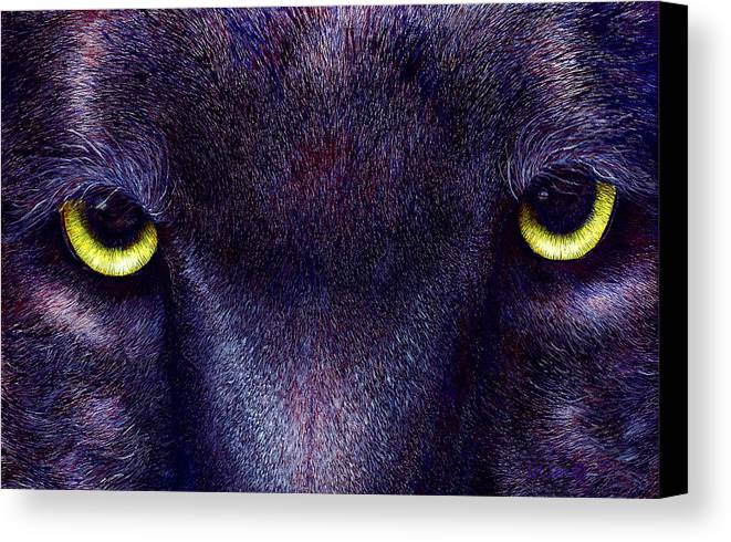 Cats Canvas Print featuring the painting Hyptnotist The Black Panther by JoLyn Holladay