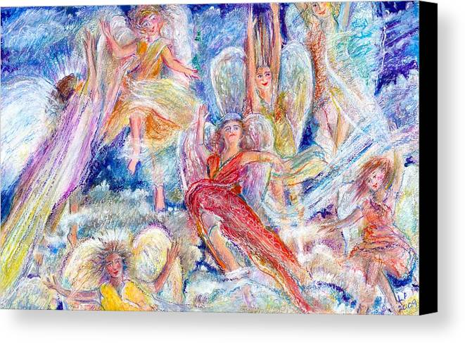 Angels;joy;christmas;guardian Angels;clouds Canvas Print featuring the painting Jumping For Joy Angels by Laurie Parker