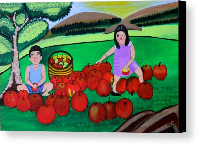 Nature Canvas Print featuring the painting Kids Playing And Picking Apples by Lorna Maza