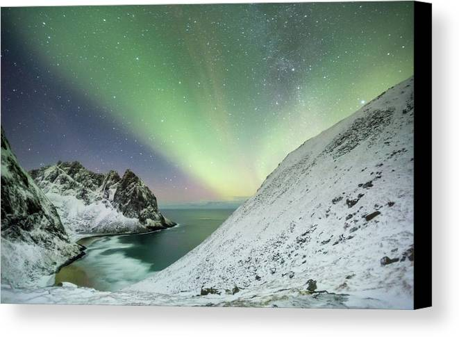 Northern Lights Canvas Print featuring the photograph Lights Above Kvalvika by Alex Conu