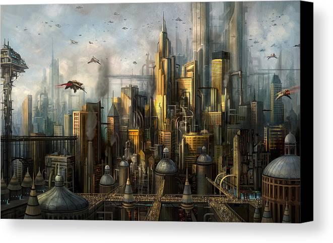 Philip Straub Canvas Print featuring the painting Metropolis by Philip Straub
