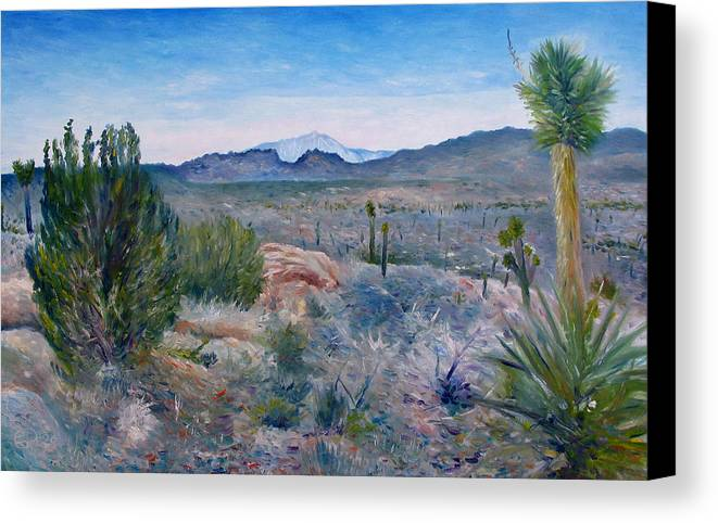 Canvas Print featuring the painting Mojave Desert With Mt San Jacinto California Usa 2001  by Enver Larney