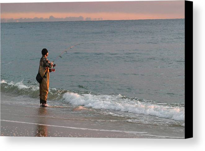 Fishing Canvas Print featuring the photograph Morning Fish by Mary Haber