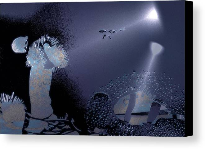 Diving Canvas Print featuring the digital art Night Dive by Mushtaq Bhat