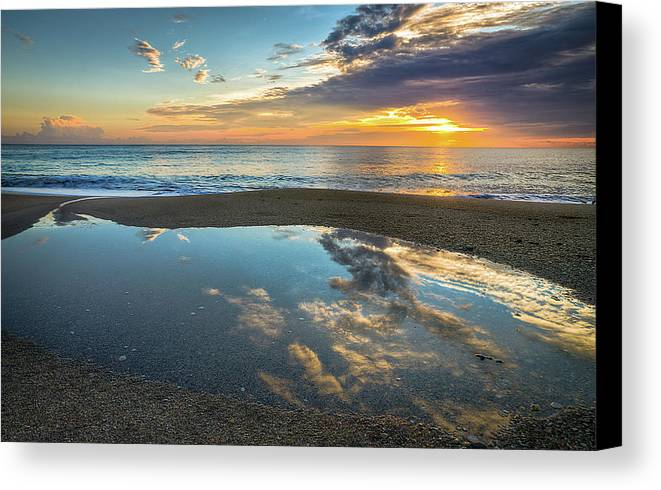 Reflection Canvas Print featuring the photograph Ocean Sunrise Reflection by R Scott Duncan