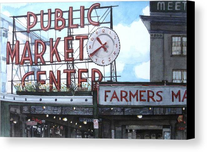 Pike Place Canvas Print featuring the painting Pike Place by Perry Woodfin