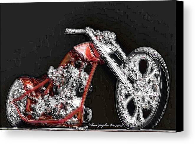 Digital Art Canvas Print featuring the digital art Red Embossed Custom by Wayne Bonney