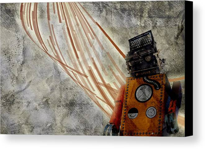 Robots Canvas Print featuring the digital art Robot Love by Shawn Ross