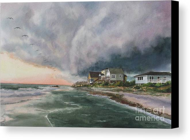 Clouds Canvas Print featuring the painting Rolling Storm by Karol Wyckoff