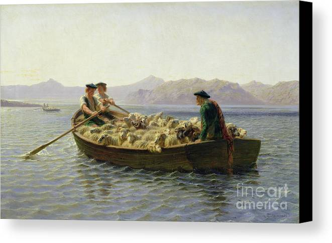 Rowing-boat Canvas Print featuring the painting Rowing Boat by Rosa Bonheur