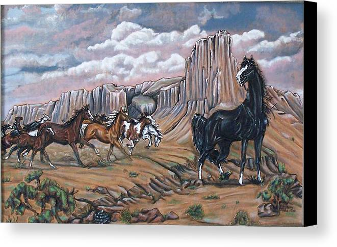 Horses Canvas Print featuring the painting Running Wild by Lilly King
