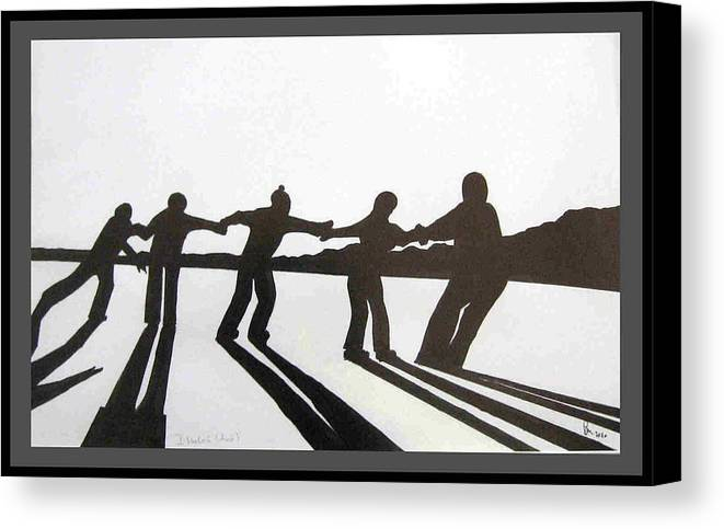 Skaters Canvas Print featuring the drawing Skaters by Dragica Micki Fortuna