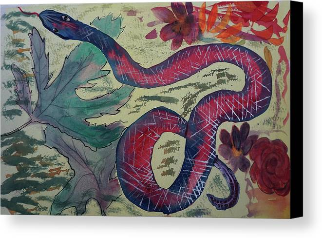 Snake Canvas Print featuring the painting Snake In The Garden by Cathy Anderson