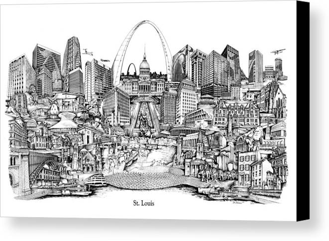City Drawing Canvas Print featuring the drawing St. Louis 4 by Dennis Bivens