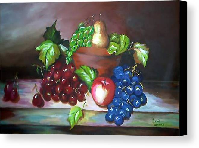 Still Life Canvas Print featuring the painting Terra Cotta Bowl by Julie Lamons
