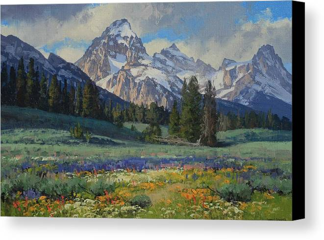 Landscape Canvas Print featuring the painting Teton Splendor by Lanny Grant