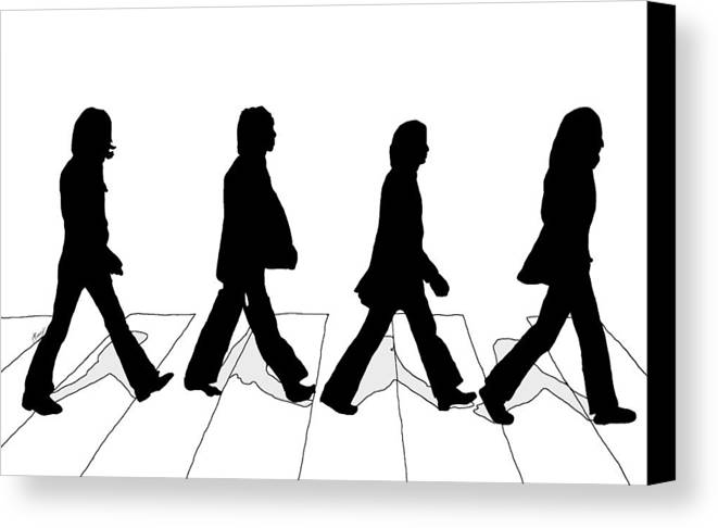 The Canvas Print featuring the digital art The Beatles Abbey Road Silhouette Drawing by Anthony Timmons