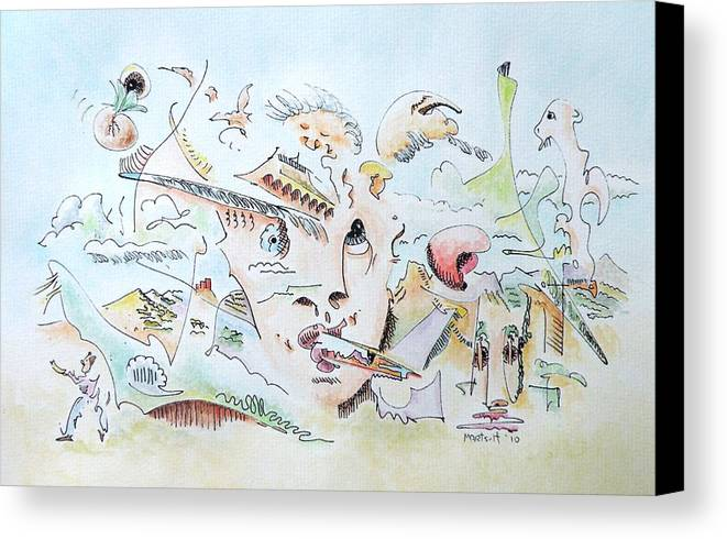 Watercolor Canvas Print featuring the painting The Novelist by Dave Martsolf
