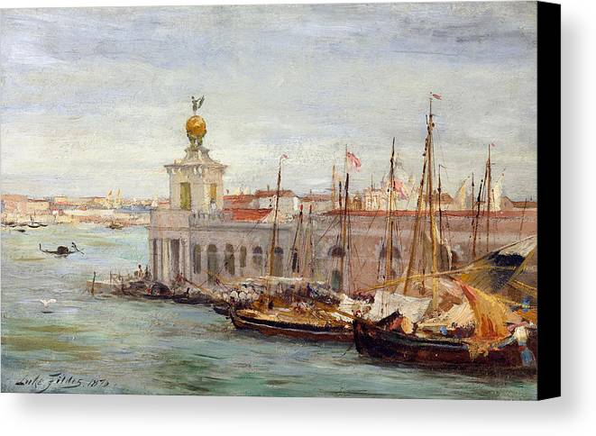 Boat Canvas Print featuring the painting Venice by Sir Samuel Luke Fields