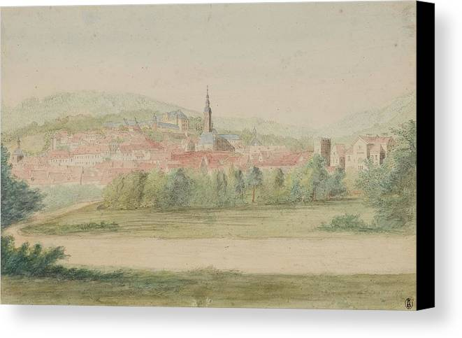 Gottlob Friedrich Thormeyer Canvas Print featuring the painting View Of A Town In Saxony by Friedrich Thormeyer