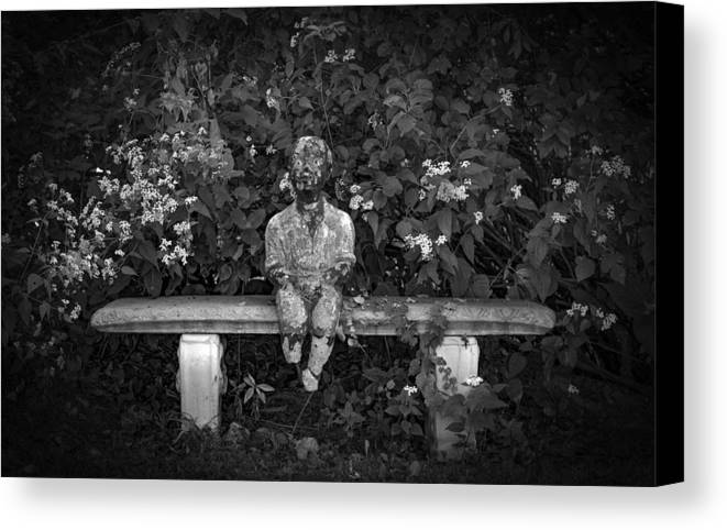 Statue Canvas Print featuring the photograph Waiting By The Garden by Ray Congrove