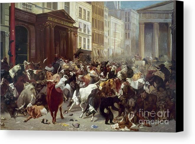 1879 Canvas Print featuring the photograph Wall Street: Bears & Bulls by Granger