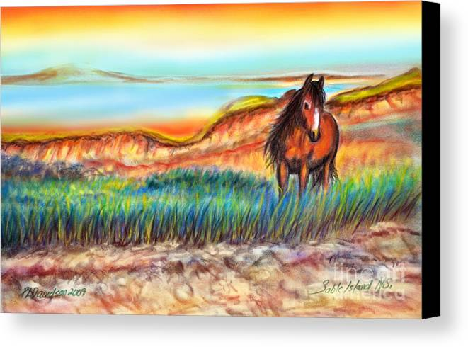 Wild Horse Art Canvas Print featuring the painting Wild And Free Sable Island Horse by Patricia L Davidson