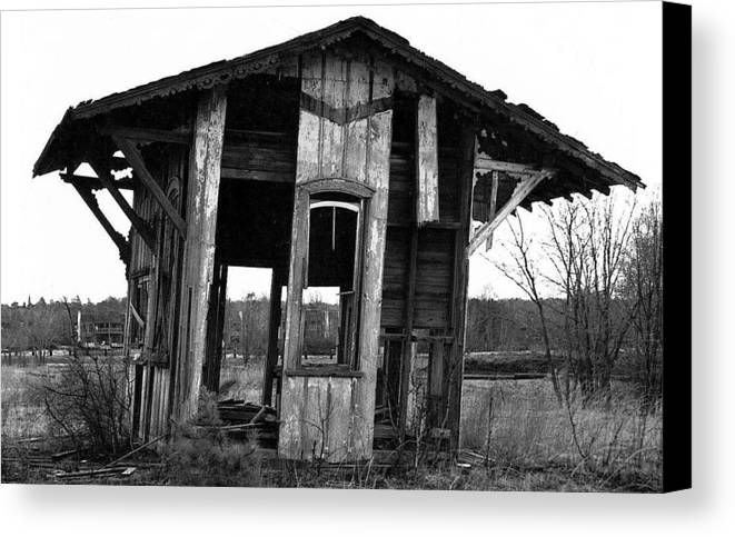 Black And White Canvas Print featuring the pyrography Ye Ol' Train Station by Sandy Poore