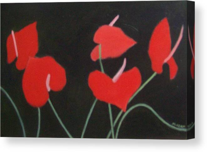 Anthurium Canvas Print featuring the painting Anthuriums by Mary Adam