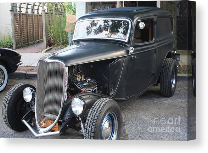 1933 Ford Two Door Sedan Front And Side View Canvas Print featuring the photograph 1933 Ford Two Door Sedan Front And Side View by John Telfer