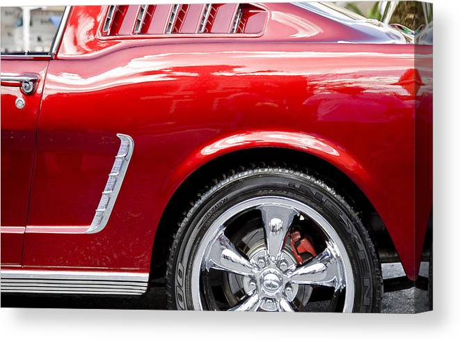 1965 Ford Mustang Canvas Print featuring the photograph 1965 Ford Mustang Really Red by Rich Franco
