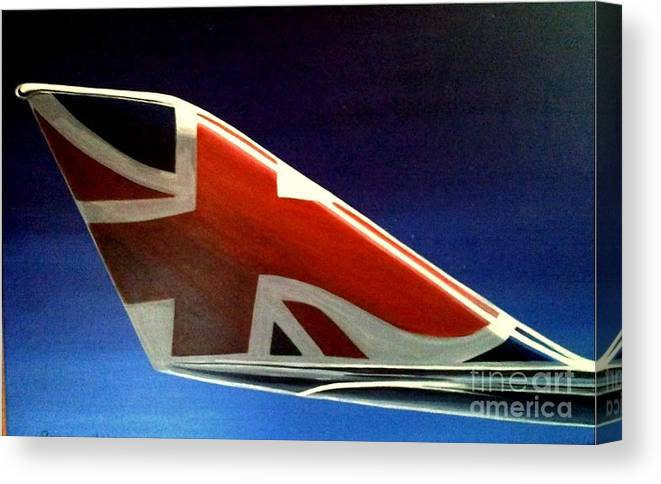 United Kingdom Canvas Print featuring the painting Virgin Atlantic Winglet by Richard John Holden RA