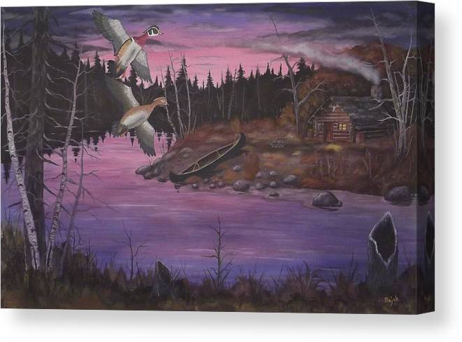 Landscape Canvas Print featuring the painting At The Cabin by Rudolph Bajak
