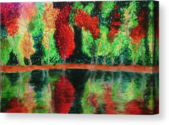 Autumn Canvas Print featuring the drawing Autumn Reflection by Crystal Menicola