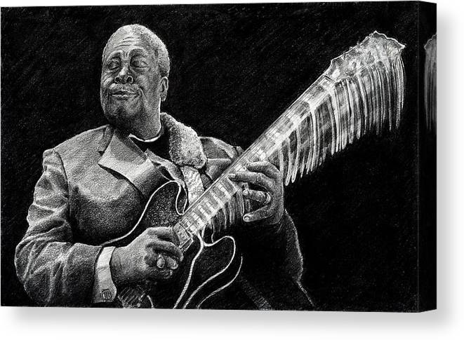 Bb King Canvas Print featuring the drawing Bb King Of The Blues by William Underwood