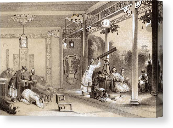 Natural Canvas Print featuring the drawing Chinese Ceremonies Performed When An by Mary Evans Picture Library