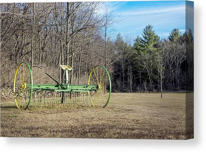Charlton Canvas Print featuring the photograph Colorful Old Farm Rake by Ray Summers Photography