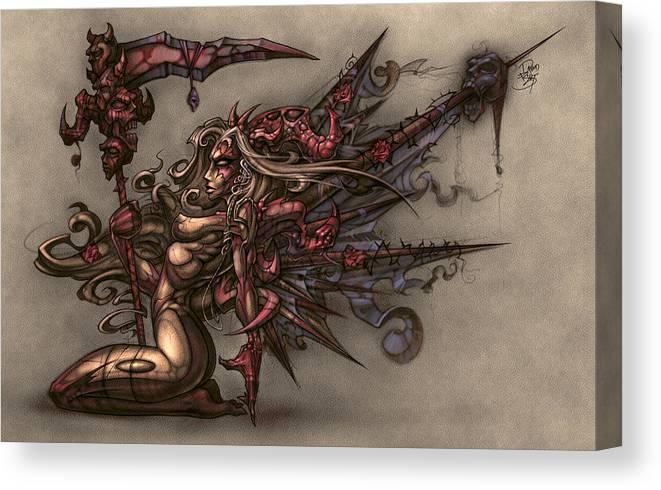 68e6ad3d9ff Fantasy Canvas Print featuring the digital art Death s Angel by David Bollt