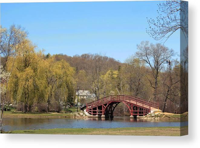 Landscape Canvas Print featuring the photograph Elm Park Bridge by Karen Morang